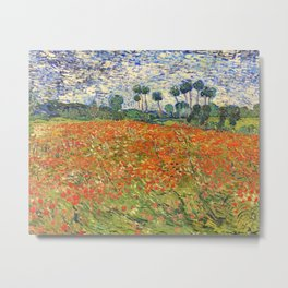 Poppy Field by Vincent van Gogh, 1890 painting Metal Print