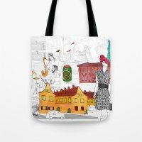 copenhagen Tote Bags featuring Copenhagen by Nanu Illustration