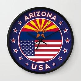 Arizona, Arizona t-shirt, Arizona sticker, circle, Arizona flag, white bg Wall Clock