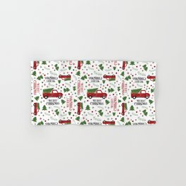 Merry Christmas Red Vintage Truck with Tree Hand & Bath Towel