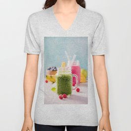 fresh smoothie with fruits and berries Unisex V-Neck