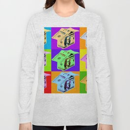Poster with dollars house in pop art style Long Sleeve T-shirt