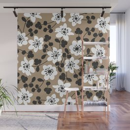 White Hepatica. Flower pattern Wall Mural