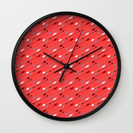 Flying heart shaped arrows print Wall Clock