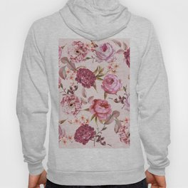 Blush Pink and Red Watercolor Floral Roses Hoody