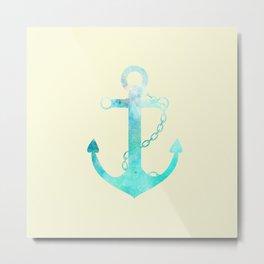 AFE Watercolor Ship Anchor Metal Print