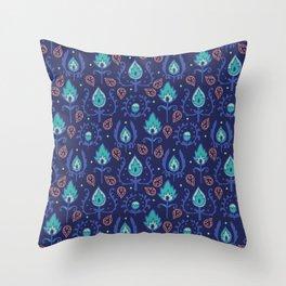 Dark Blue Ikat Doodle Pattern Throw Pillow