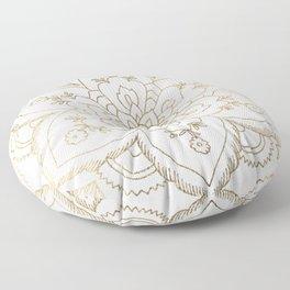 Chic elegant white faux gold spiritual floral mandala Floor Pillow