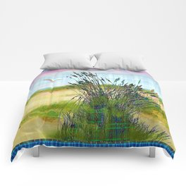 Plaid Beachscape with Seagrass Comforters