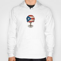 puerto rico Hoodies featuring Vintage Tree of Life with Flag of Puerto Rico by Jeff Bartels