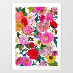 Peonies & Roses Art Print