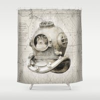 scuba Shower Curtains featuring scuba diving by PRIMATE