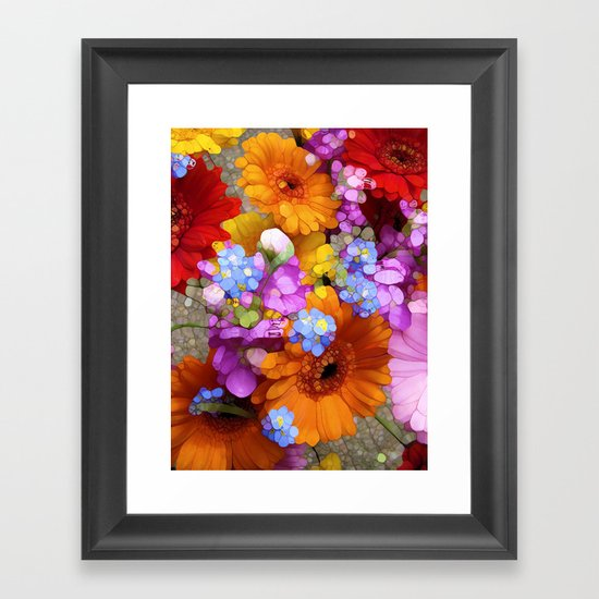 Rainbow Flower Abstract Framed Art Print