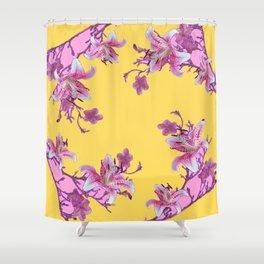 DECORATIVE YELLOW MODERN ART FLORAL Shower Curtain