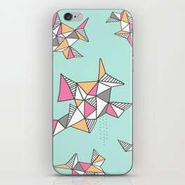 Geometric Design, Teal and Pink Triangles iPhone Skin