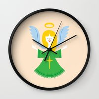 angel Wall Clocks featuring Angel by Wharton