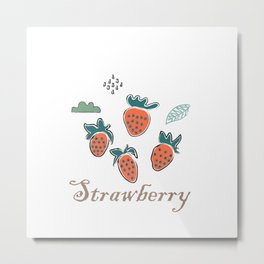 Cute Winter Icon with strawberry and cloud Metal Print