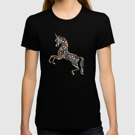 Floral Unicorn in Teal T-shirt