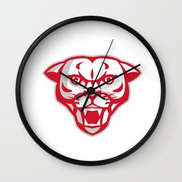 Angry Cougar Mountain Lion Head Retro Wall Clock