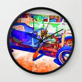 Blue vintage car Wall Clock