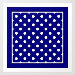 Navy Blue Polka Dots Palm Beach Preppy Art Print