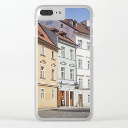 Buildings on a Cobblestone Street in Prague Clear iPhone Case