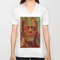 frankenstein V-neck T-shirts featuring frankenstein by Ganech joe