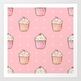 Pink cupcakes pattern Art Print
