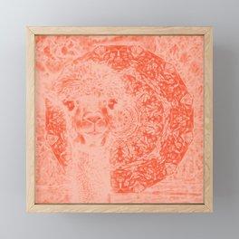 Ghostly alpaca and mandala in Fiesta Red Framed Mini Art Print