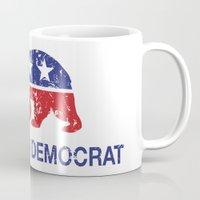 political Mugs featuring California Political Democrat Bear Distressed by Democrat