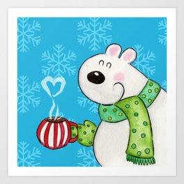 Hot Cocoa Polar Bear Art Print
