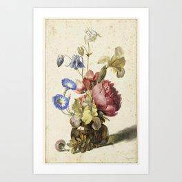 Flowers in a Bottle, Dirck de Bray, 1674 Art Print