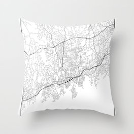 Minimal City Maps - Map Of Stamford, Connecticut, United States Throw Pillow