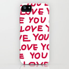 Red and white love text iPhone Case