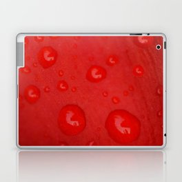 Deep Red Lily Petal and Raindrops Laptop & iPad Skin