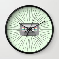 tape Wall Clocks featuring Tape by Colleen Sweeney