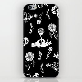 Linocut snakes hand rose floral black and white spooky gothic pattern iPhone Skin
