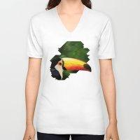 toucan V-neck T-shirts featuring toucan by gazonula
