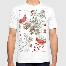 Christmas seamless pattern, cardinal birds, red berries, fir twigs, cedar cones, white background. Vintage illustration. Nature design. Season greeting. Winter Xmas holidays T-shirt