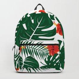 Tropical Leaves Hibiscus Flowers Backpack