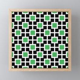 Classic Hollywood Regency Pattern 221 Black and Green Framed Mini Art Print