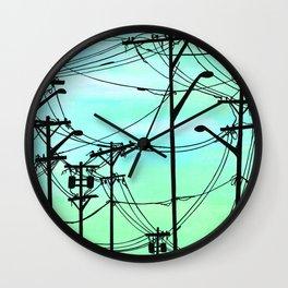 Industrial poles aqua Wall Clock