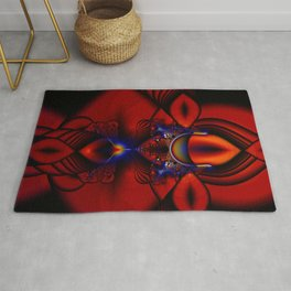 Ruby Abstract Stained Glass Window Rug
