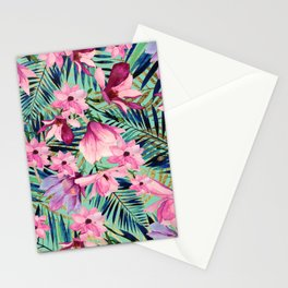 Tropical pink lavender aqua gold watercolor floral Stationery Cards