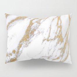 Elegant Creamy White Marble With Luscious Gold Veins Pillow Sham