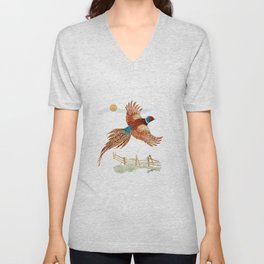 male pheasant Unisex V-Neck