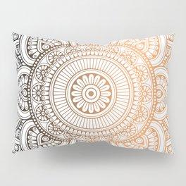 Gold Bronze Mandala Pattern Illustration Pillow Sham