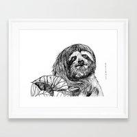 sloth Framed Art Prints featuring sloth by ARI(Sunha Jung)