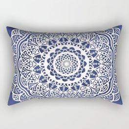 Deep Ocean Blue Mandala - LaurensColour Rectangular Pillow
