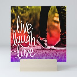 Live, laugh, love pop art Mini Art Print
